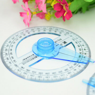 Circular Plastic 360 Degree Pointer Protractor Ruler School Office Tool Supplies 6