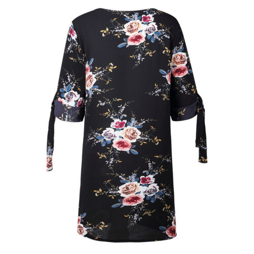 Women Floral Printed Long Tops Blouse Summer Beach Tunic Dress Plus Size 6-22 12