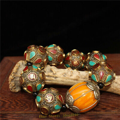 """4.72"""" Chinese Exquisite pure copper Turquoise Beeswax Handmade beads Bracelet 8"""