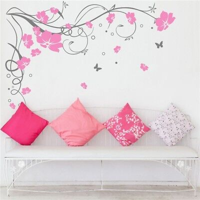 Floral Vine Flower Butterfly Wall Sticker Vinyl Art Decal UK  SH55