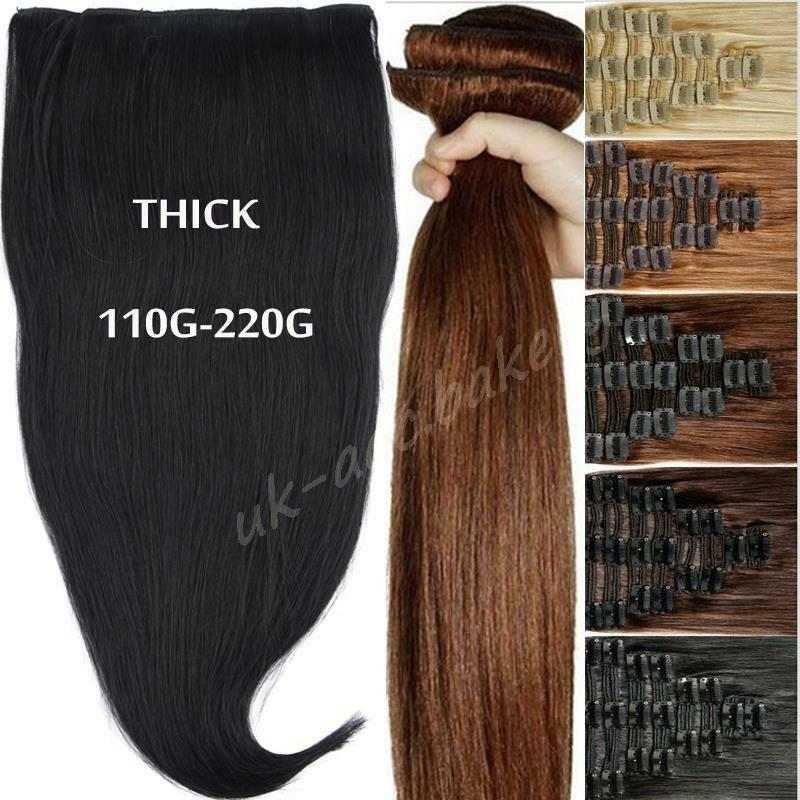 Thick Double Weft Clip In Real Remy Human Hair Extensions Full Head