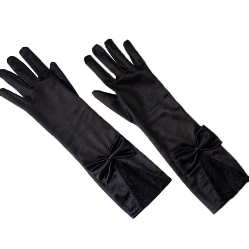 Women Black Lace Patchwork Satin Gloves Bowknot Sexy Clubwear Party Dance G RAS 2