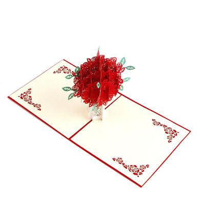 3D Pop Up Grußkarten Blume Rose Geschenkkarte Valentinstag Muttertag 15x20cm