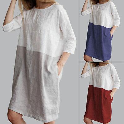AU Baggy Womens Casual Short Sleeve Dresses Cotton Linen Ladies Tunic Tops Dress 2