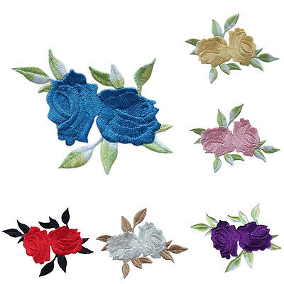 Rose Flower Leaves Embroidery Iron On Applique Patch  abordada apliques xc 6