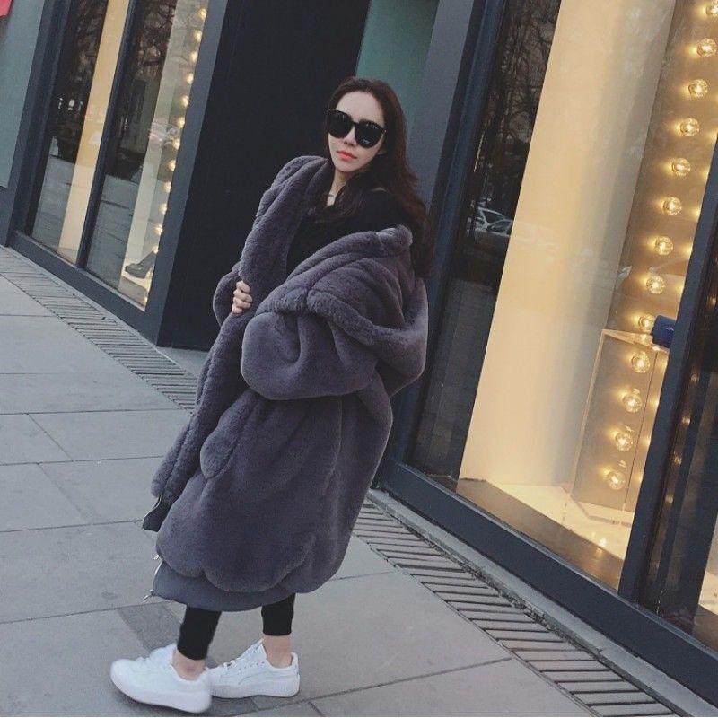 Femme Fausse Fourrure Manteau Long Veste à Capuche Baggy Large en Vrac