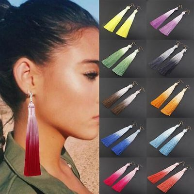 Fashion Women Bohemian Long Tassel Fringe Boho Ear Stud Dangle Earrings Jewelry 11