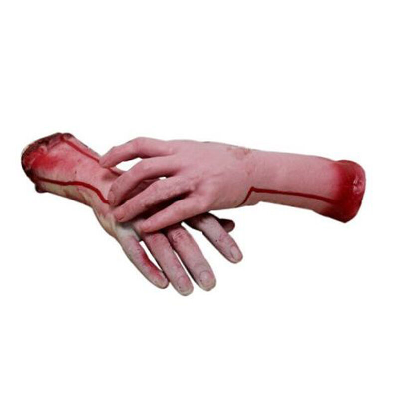 Halloween Realistic Hand Terror Bloody Fake Body Parts Severed Arm Hand Prop 2