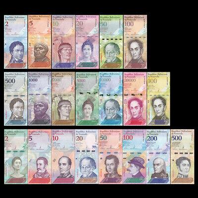 Venezuela Full Set 21 PCS, 2 - 100,000 Bolivares, 2-500 Soberanos 2007-2018,UNC 2