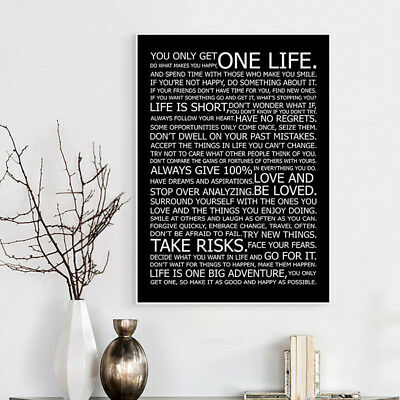 Life Motivational Quote Canvas Print Black White Poster Wall Art Painting Decor 4