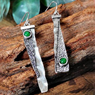 Silver Plated Vintage Turquoise Dangle Ear Hook Boho Hoop Women Jewelry Earrings 8