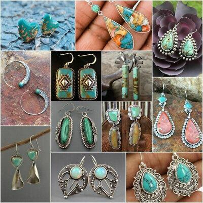 Silver Plated Vintage Turquoise Dangle Ear Hook Boho Hoop Women Jewelry Earrings 2