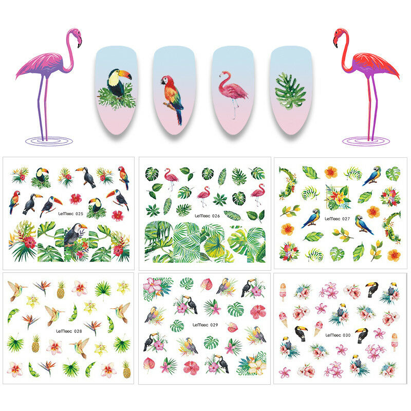 8Sheets LEMOOC Nail Art Water Decals Summer Theme Flamingos Transfer Stickers 6