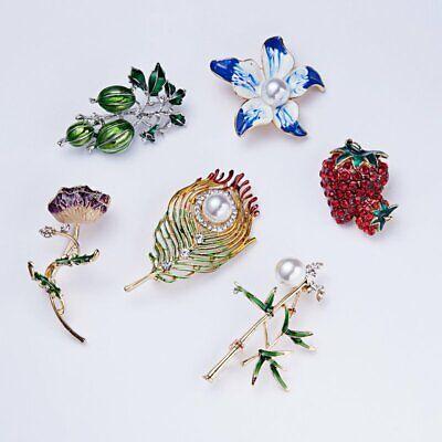 Fashion Rhinestone Crystal Flower Plant Bridal Bouquet Enamel Brooch Pin Jewelry 10