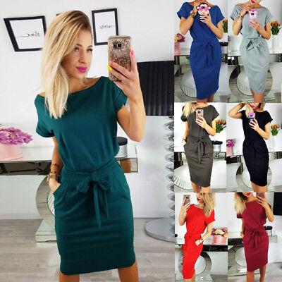 Womens Summer Beach Short Sleeve Pocket Dress Ladies Casual Bandage Shift Dress 3