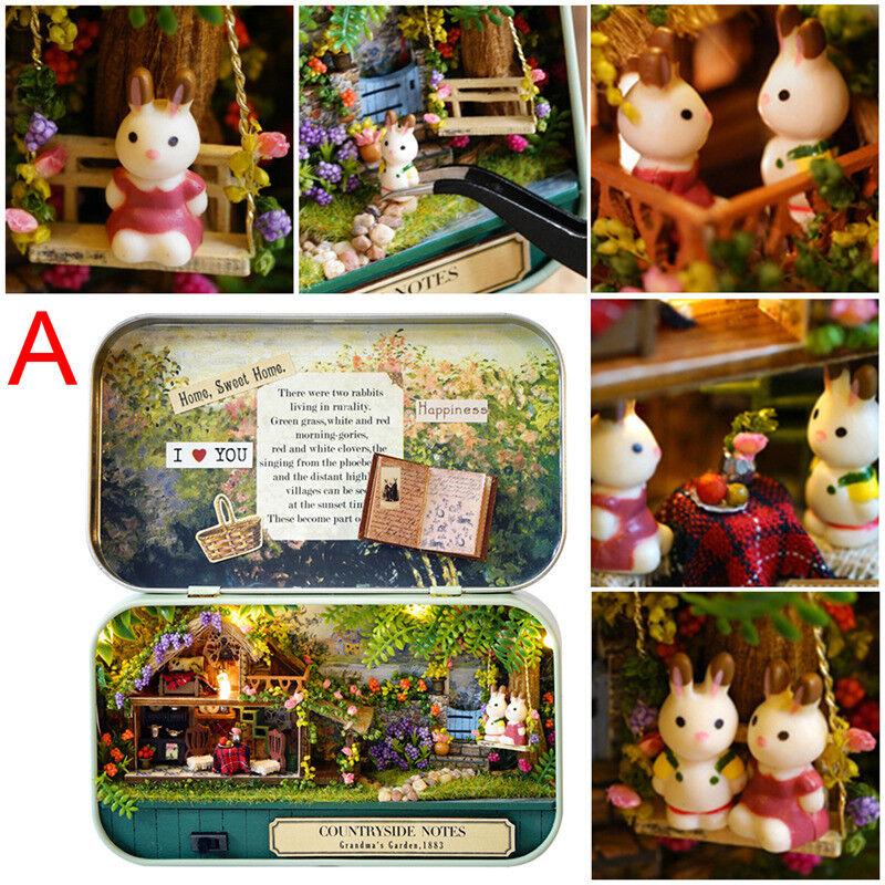 Mini DIY Music Dollhouse Miniature Doll House Furniture Kit LED Light Gifts FG