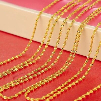 """1PC 24K Gold Plated 2mm Women's Twist Water Wave Rope Chain Necklace 20"""" N65 3"""