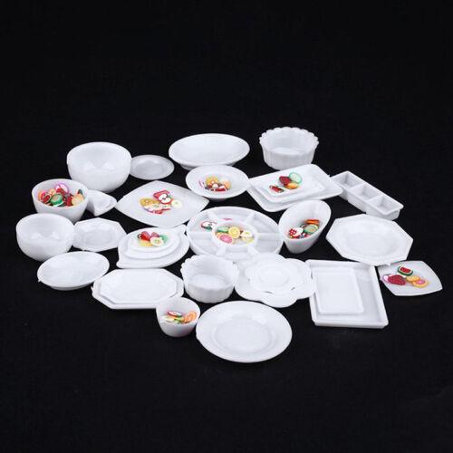 33pcs/Set Dollhouse Miniature Tableware Plastic Plate Dishes Set Mini Food 2017 5