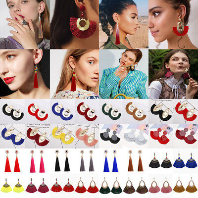 Fashion Women Bohemian Long Tassel Fringe Boho Ear Stud Dangle Earrings Jewelry 2