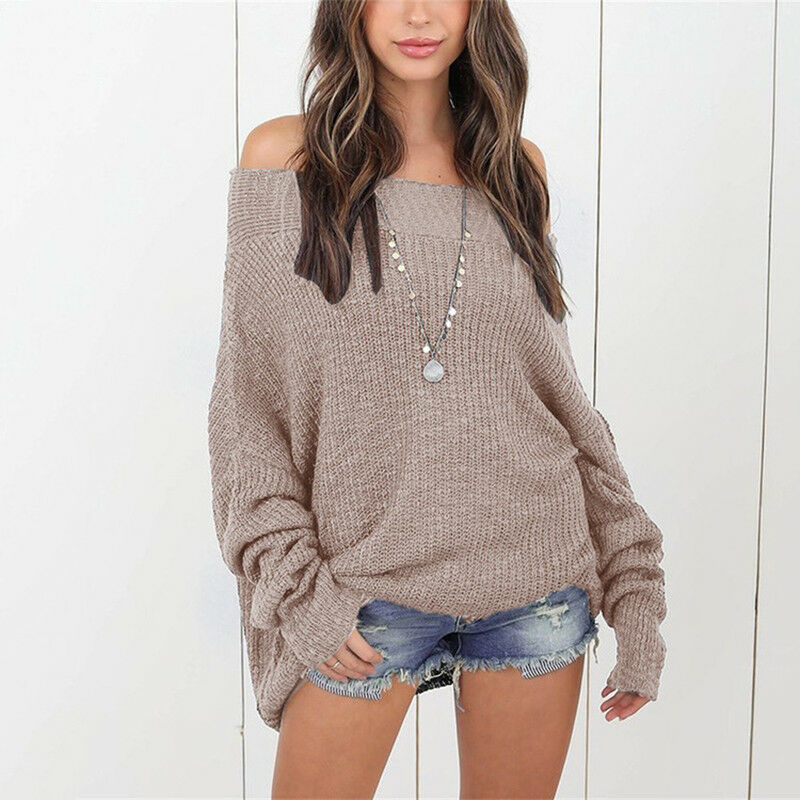 c55a22f5353c UK Womens Off The Shoulder Chunky Knit Jumper Ladies Baggy Sweater Top  Oversize 6 6 of 11 ...