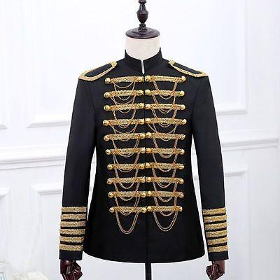 Herren Zweireihig Hussar Anzug Jacke Artillerie Schlagzeuger Steampunk Blazer