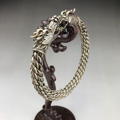 Old Chinese Wonderful Handwork Miao Silver Dragon Bracelet h729 4