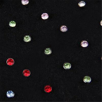 24Pcs Crystal Rhinestone Nose Lip Ring Bone Studs Steel Body Piercing Jewelry 7