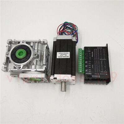 Nema23 3NM Stepper Motor Driver Kit 4.2A & Worm Gearbox Speed Reducer 30:1 CNC 11
