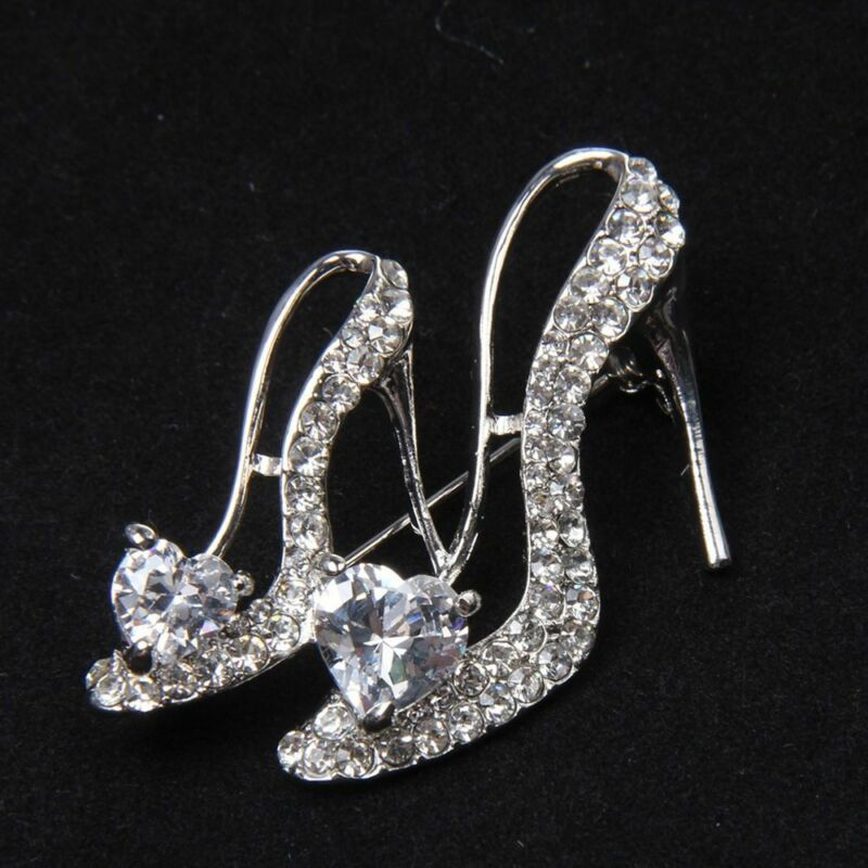 Hot Crystal Rhinestone Broaches High Heeled Shoes Brooch Pins Party Accessories 6