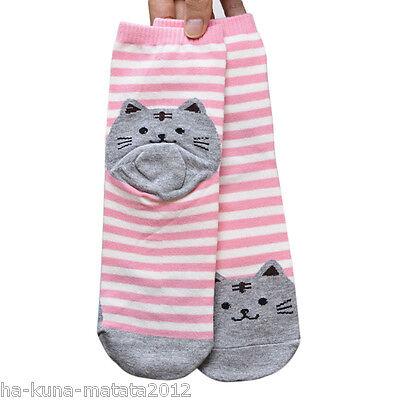 KITTY SOCKS Fun GREEN Stripe CAT Cotton Ankle SOCKS One Size UK 12-4  New UKsale 5