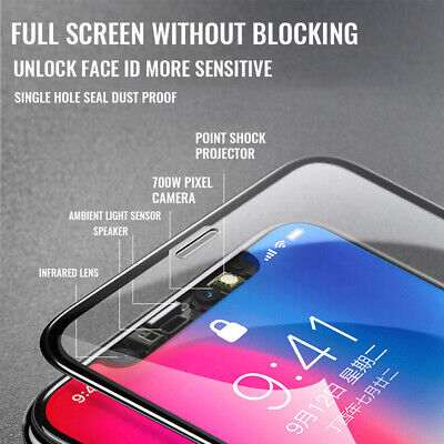 For IPhone X XS MAX XR 8 7 6 10D Full Cover Real Tempered Glass Screen Protector 10