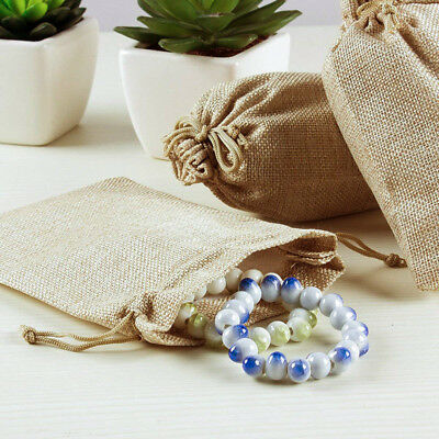 50pcs Small Burlap Jute Hessian Wedding Favor Gift Candy Bags Drawstring Pouches 7