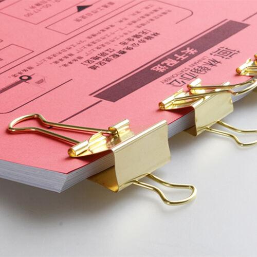 40Pcs 19MM Solid Color Gold Metal Binder Notes Letter Paper Clip Pro.