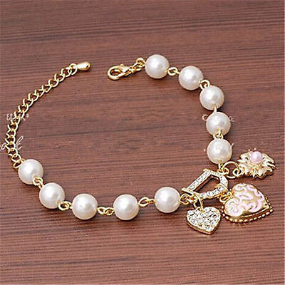 Fashion Gold Plated Women's Jewelry Crystal Heart Bangle Pearl Bracelet Hot 5