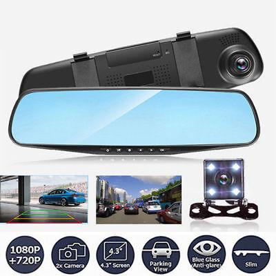 "HD 1080P 4.3"" Dual Lens Car DVR Dash Cam Reversing Camera Mirror Video Recorder 12"
