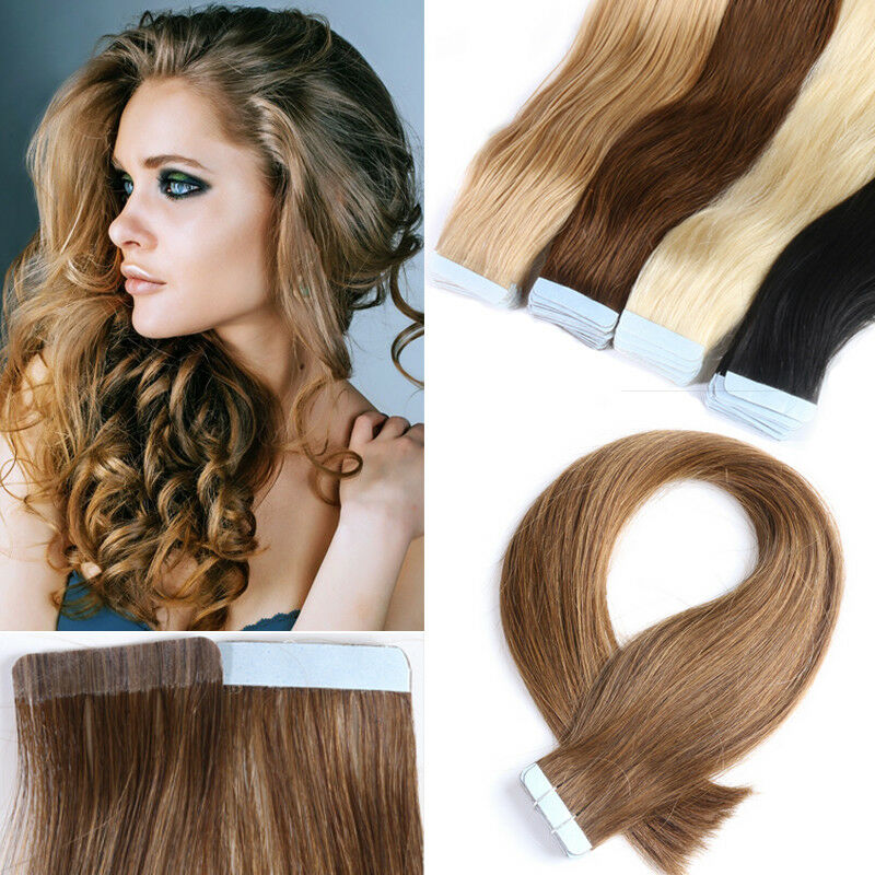 8a Russian Remy Tape In 100 Human Hair Extensions Skin Weft Real Thick 40pcs Us