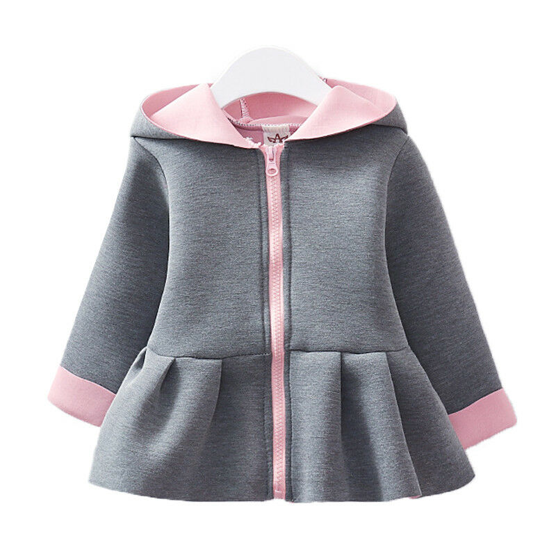 Kids Girls Hooded Coat Winter Hoodies Swing Jacket Outwear Winter Outfit Tops 5
