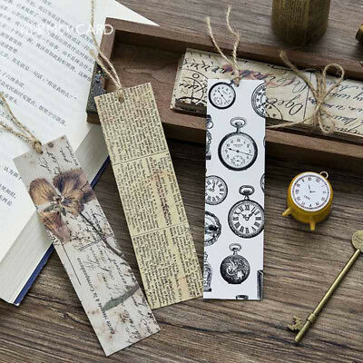 30pcs/Box Vintage Bookmark Paper Book Mark Magazine Label Memo Office Stationery 2