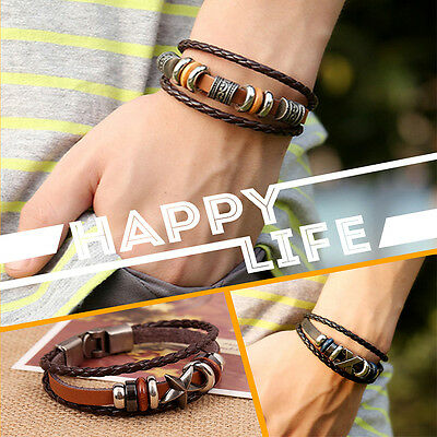 Brilliant  Punk Unisex Women Men Wristband Metal Studded Leather Bracelet 6