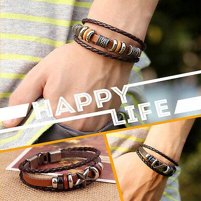 Popular  Punk Unisex Women Men Wristband Metal Studded  Leather Bracelet 8