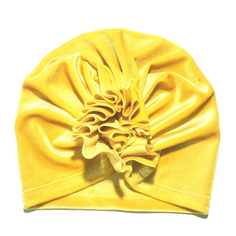 Neugeborene Baby Mädchen Jungen Blumen Turban Mützen Cap Weich Samt Beanie Hut