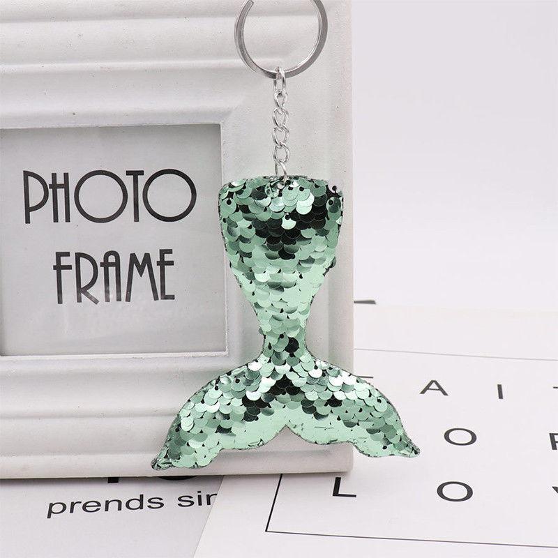 Key Chain Keyring Sequins Pendant Gift Keychain Jewelry Mermaid Tail Handbag CN 7