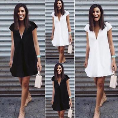 Plus Size Womens Cotton Mini Dress Plunge V Neck Loose Long Tops Beach Sundress 2