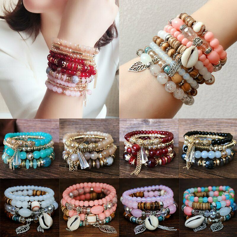 4Pcs I Love You Multilayer Natural Stone Crystal Bangle Beaded Bracelet Jewelry 6
