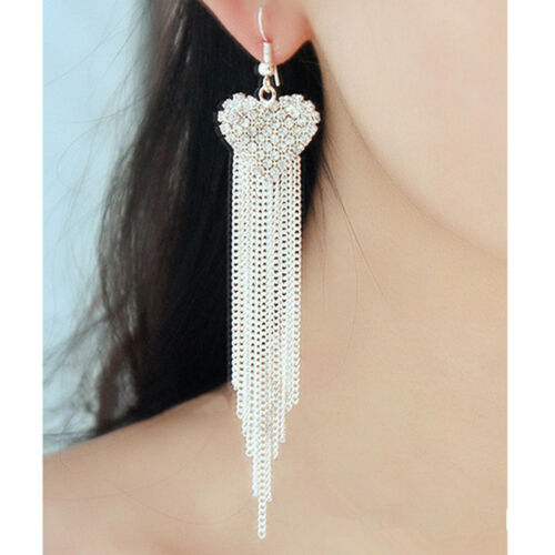 Chic Ladies Love Heart Shape Tassel Earrings Anniversary Party Jewellery one 3