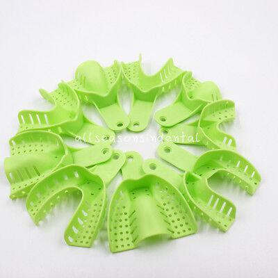 10 Pcs Autoclavable Dental Plastic Impression Trays Central Denture Disposable 3