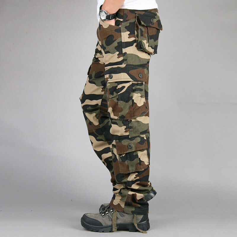 Mens Military Combat Trousers Camouflage Cargo Camo Army Casual Work Long Pants 9