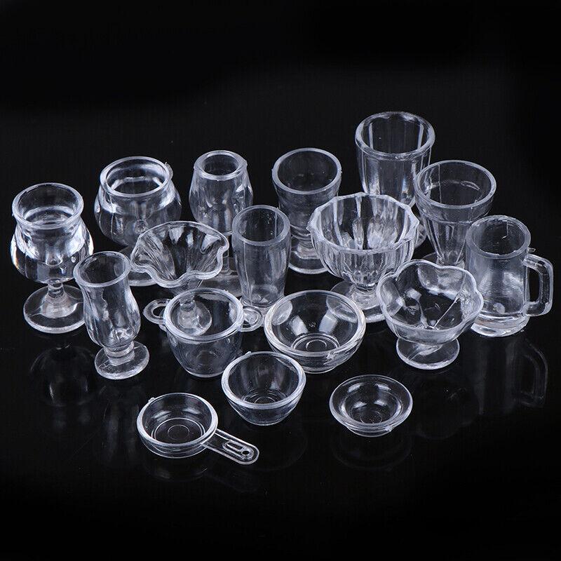 17Pcs/Set 1:12 Dollhouse Miniature Transparent Tableware DIY Kitchenware Toys 5