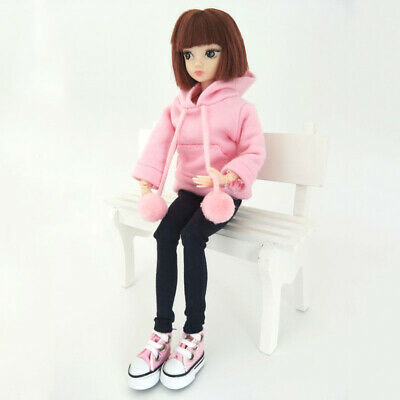 Pink Sweatshirt Doll Clothes Outfits Leather Pants Canvas Shoes For 1/6 Doll Toy 6
