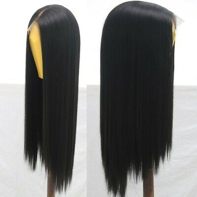 """AU 24"""" Natural Straight Synthetic Fiber Hair Handtied Off Black Lace Front Wig 4"""